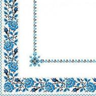 Салфетки 24х24 Вышиванка Цветы синяя МАРГО