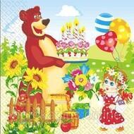 "Салфетки 33х33 ""Маша и медведь"" МАРГО"